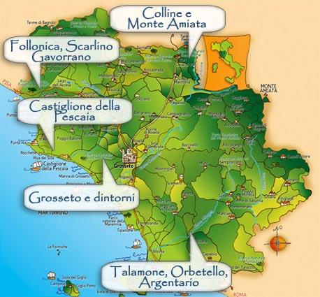 Pianta storica delle zone di bonifica integrale in maremma. (foto da labonificadellamaremma.wordpress.com)